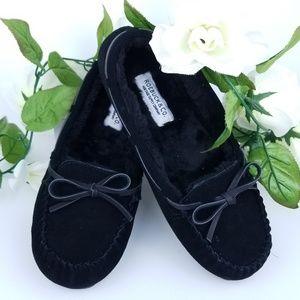✔Fuzzy Black Moccasin Slippers Roebuck & Co. 8.5